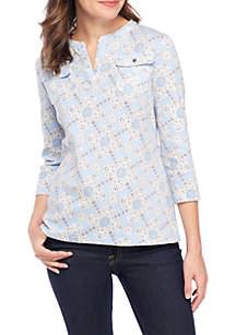 3/4 Sleeve Pocket Printed Henley Top