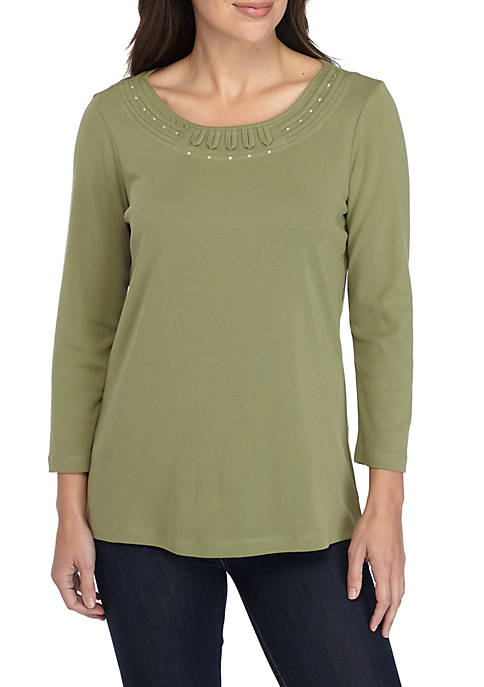 Kim Rogers® Neck Detail Solid Top