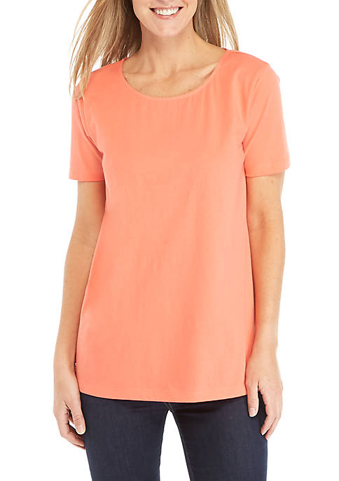 Kim Rogers® Short Sleeve Half Print Top
