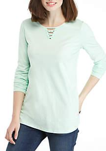 Long Sleeve Lace Neck Tunic