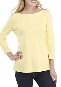 Kim Rogers® 3/4 Sleeve Boat Neck Top