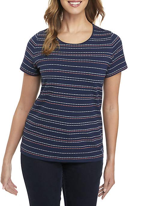 Kim Rogers® Short Sleeve Stripe Print Tee