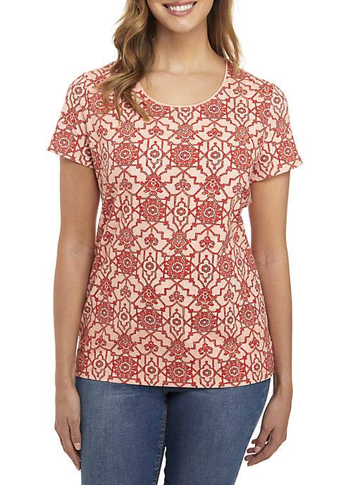 Kim Rogers® Short Sleeve Fretwork Print Top