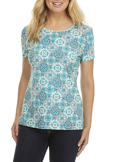 Kim Rogers® Short Sleeve Print Knit Top