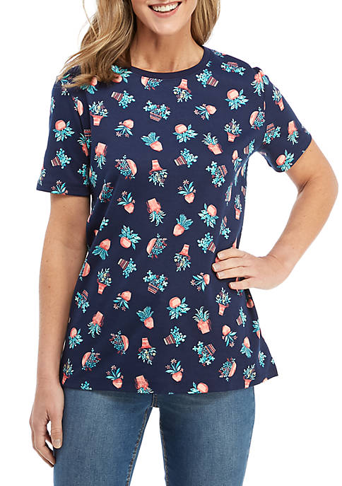 Kim Rogers® Short Sleeve Plant Print Top