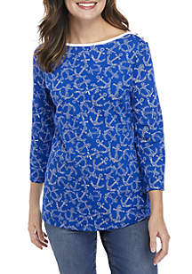 Boat Neck Printed Top