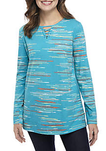 Kim Rogers® Long Sleeve Lace-Up Neck Print Tunic