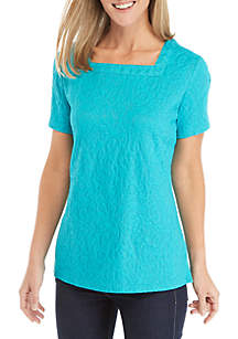 Short Sleeve Square Neck Textured Top