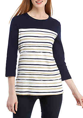 6f3d4a248ea7cd Kim Rogers® 3/4 Sleeve Stripe Print Top ...