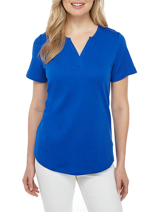 Kim Rogers® Short Sleeve Split Neck Top