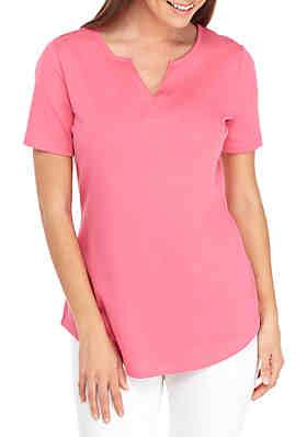 e68edc4c2d4b86 Kim Rogers® Short Sleeve Split Neck Top ...