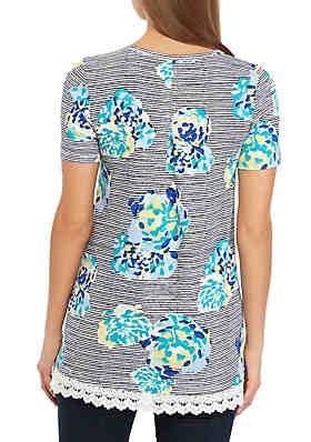 c81b82c56321 ... Kim Rogers® Short Sleeve Lace Hem Tunic Print Top