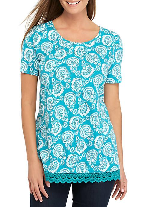 Lace Hem Tunic Print Top