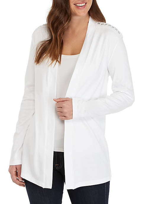 Long Sleeve Eyelet Trim Cardigan