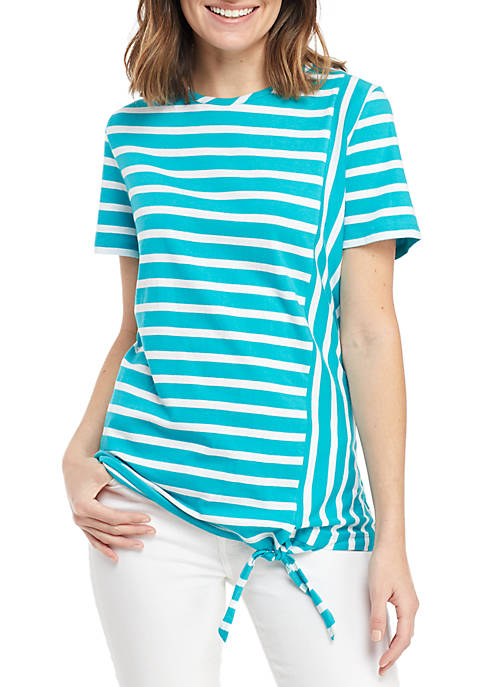 Kim Rogers® Short Sleeve Side Tie Stripe Top