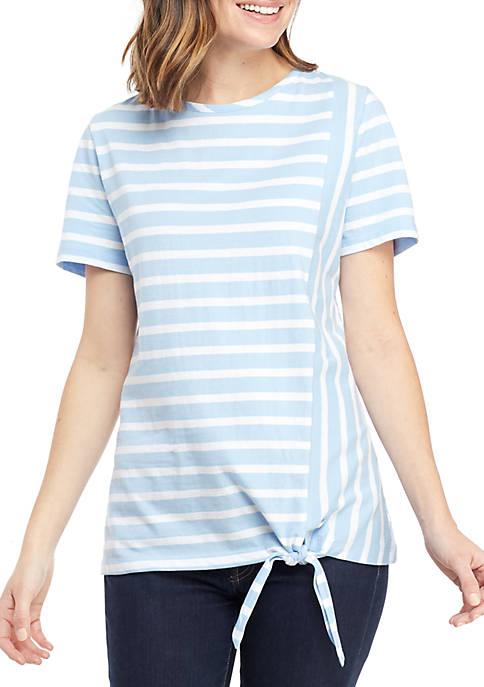 Kim Rogers® Short Sleeve Side Tie Stripe Top
