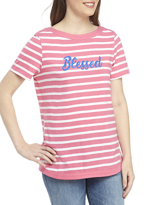 Kim Rogers® Short Sleeve Stripe Graphic Top