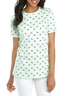 Kim Rogers® Short Sleeve Crew Neck Umbrella Print Top