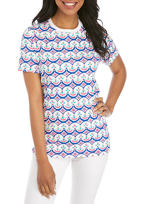 Kim Rogers® Short Sleeve Crew Neck Belle Print