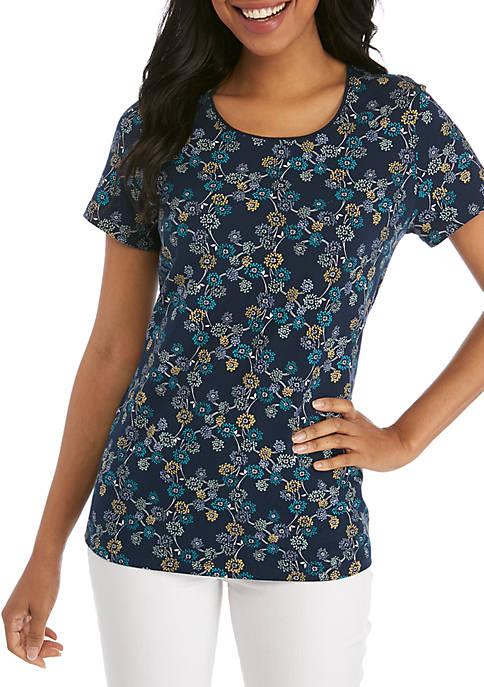 Kim Rogers® Short Sleeve Willow Print Top