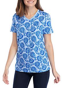 Kim Rogers® Short Sleeve V-Neck Floral Print Top