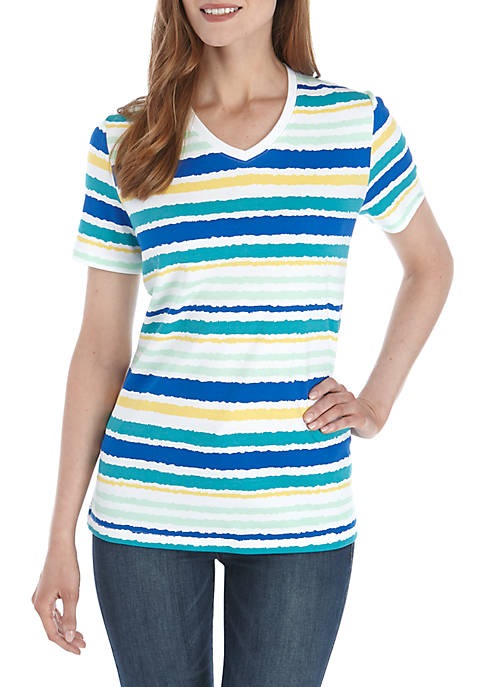 Kim Rogers® Short Sleeve V-neck Stripe Top