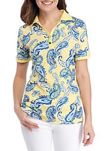 c07c56acd4d ... Kim Rogers® Short Sleeve Polo Paisley Top