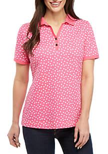 Kim Rogers® Short Sleeve Polo Dot Print Top