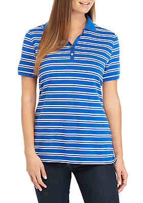 Kim Rogers® Short Sleeve Stripe Polo Top ... 37865b6a4089