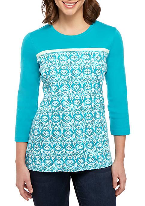 Kim Rogers® 3/4 Sleeve Tie Print Top