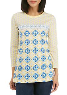Kim Rogers® 3/4 Sleeve Medallion T Shirt