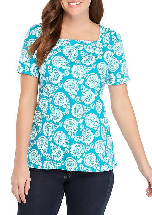 Kim Rogers® Short Sleeve Square Neck Floral Print
