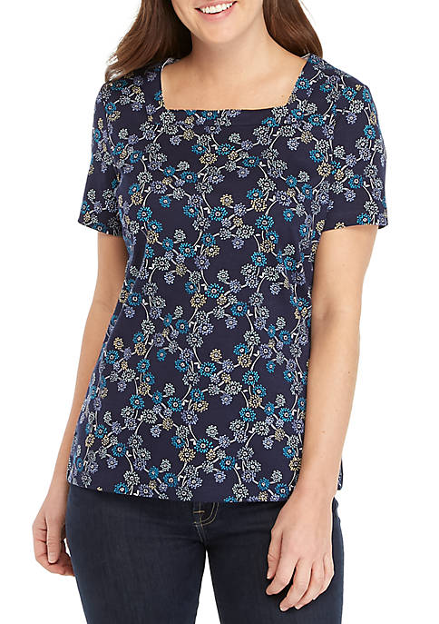 Kim Rogers 174 Short Sleeve Square Neck Willow Print Top Belk