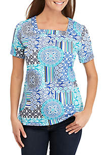 0b9a8aa4a9 Kim Rogers® Short Sleeve Square Neck Tile Print Top