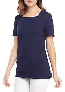 Kim Rogers® Short Sleeve Square Neck Jacquard Top
