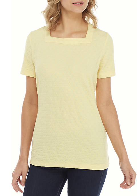 Kim Rogers® Short Sleeve Square Neck Jacquard Top