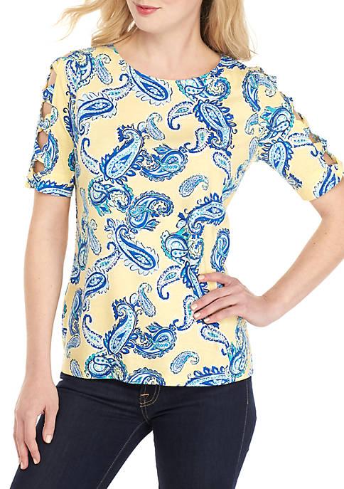 Kim Rogers® Ladder Sleeve Paisley Print Top