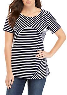 fcfb6e87dfb56 ... Shirt · Kim Rogers® Short Sleeve Criss Cross Stripe Top