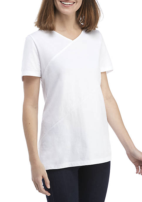 Kim Rogers® Short Sleeve Criss Cross V-Neck Top