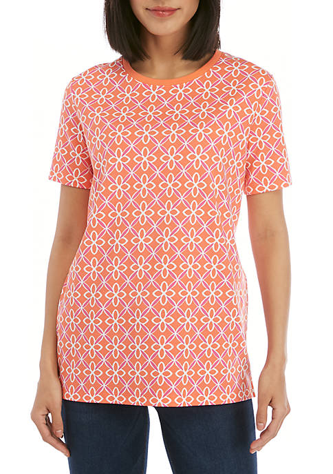 Kim Rogers® Short Sleeve Lattice Geo Print Top