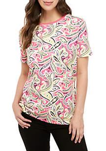 44695766ecba9 Kim Rogers® Short Sleeve Paisley T Shirt