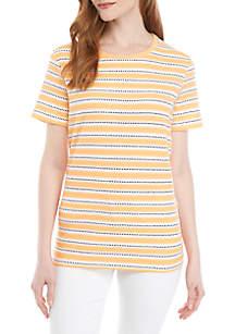 Kim Rogers® Short Sleeve Crew Neck Stripe Top