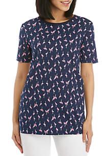 d6012f822d165 ... Kim Rogers® Short Sleeve Crew Neck Flamingo Print Top