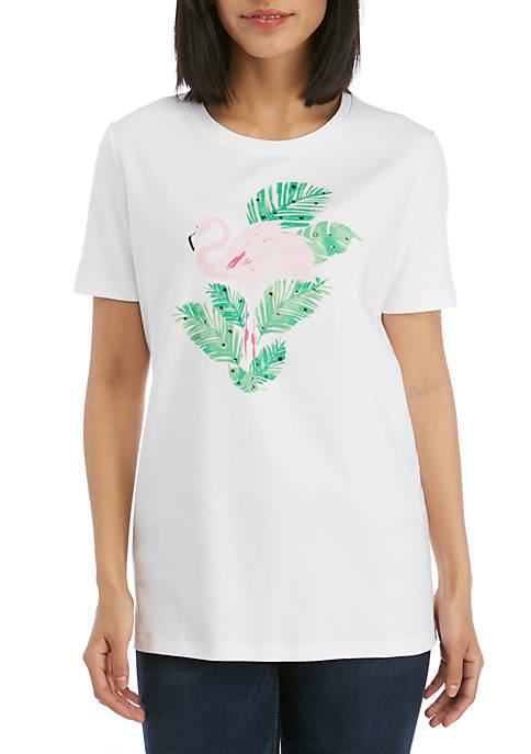 Kim Rogers® Short Sleeve Crew Neck Flamingo Graphic