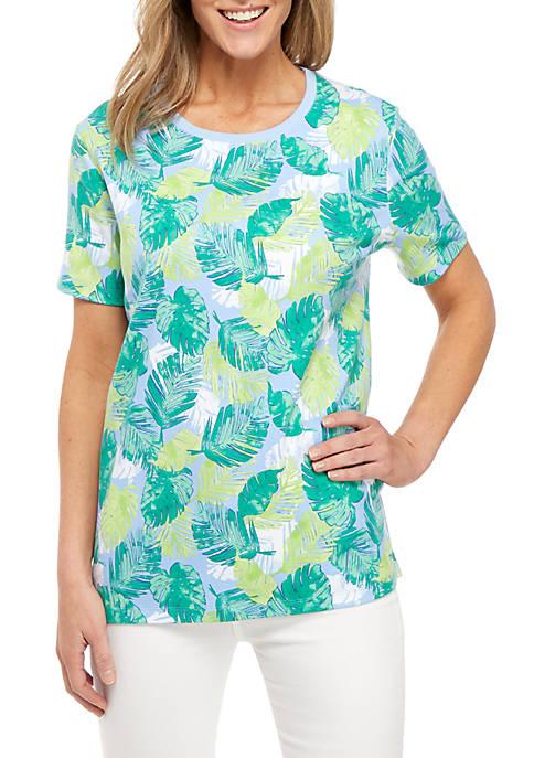 Kim Rogers® Short Sleeve Palm Print Crew Neck