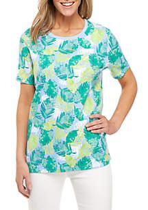 Kim Rogers® Short Sleeve Palm Print Crew Neck Top