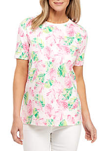Kim Rogers® Short Sleeve Palm Print Crew Neck Top