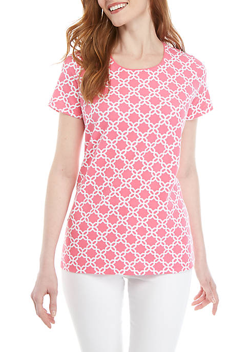 Kim Rogers® Short Sleeve Geo Print Top