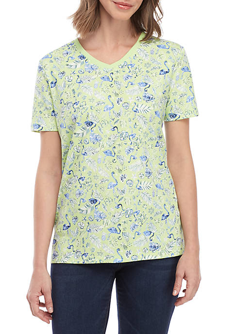 Kim Rogers® Short Sleeve V Neck Flamingo Print