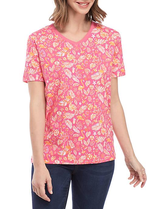 Kim Rogers® Short Sleeve V Neck Flamingo Print